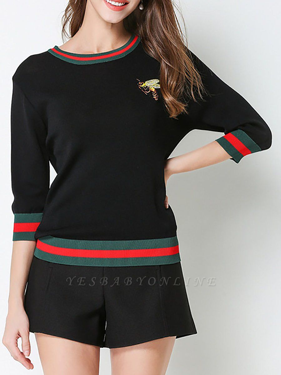 Crew Neck Knitted Embroidered 3/4 Sleeve Casual Sweater