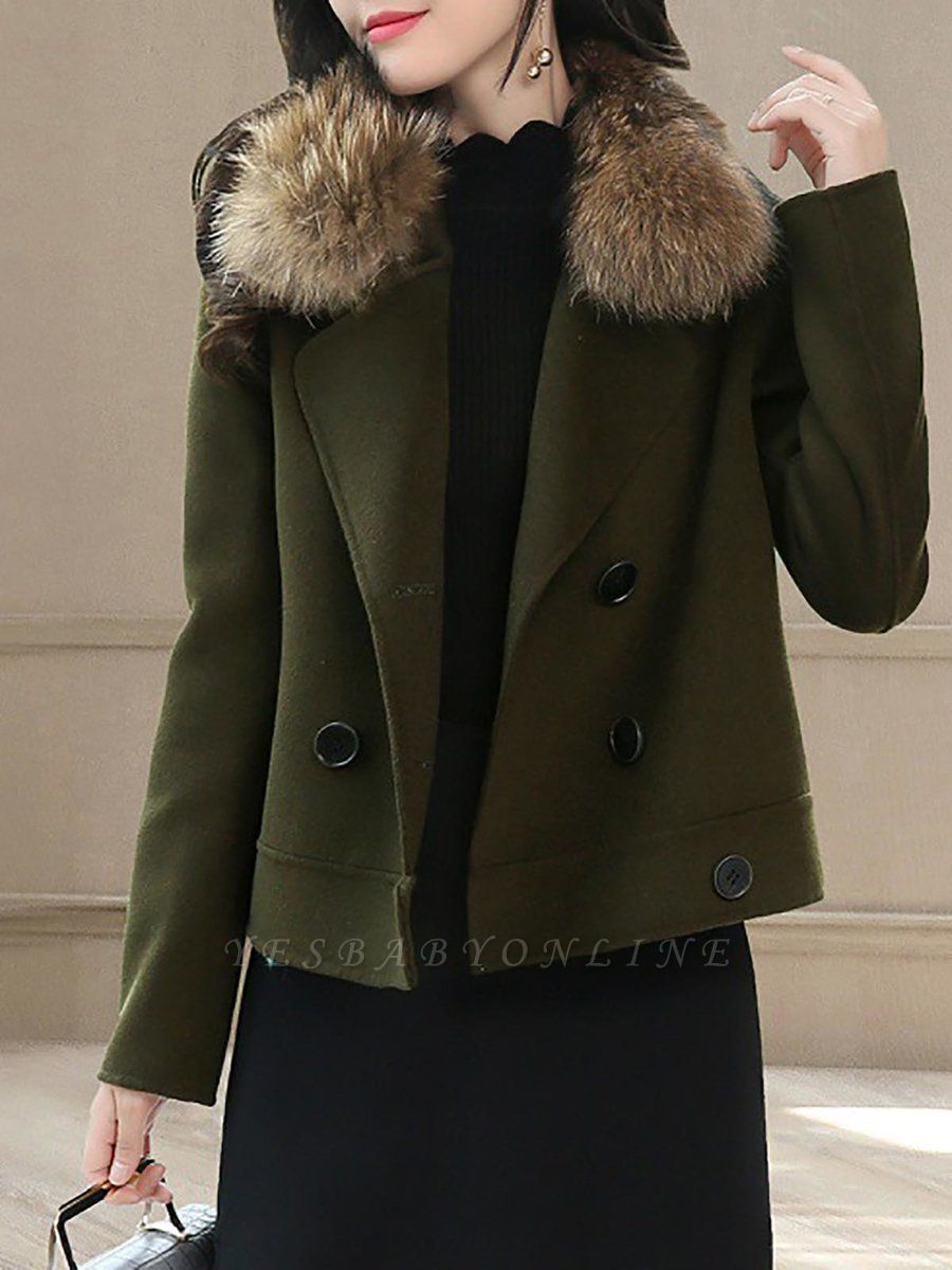 Work Long Sleeve Solid Lapel Buttoned Paneled Coat
