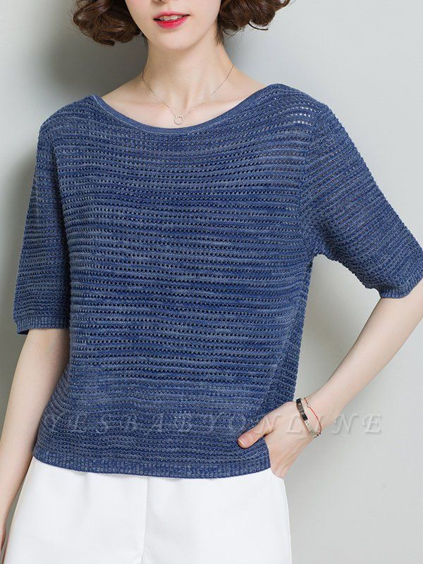 Casual Solid Crew Neck Half Sleeve Ice Yarn Knitted Sweater