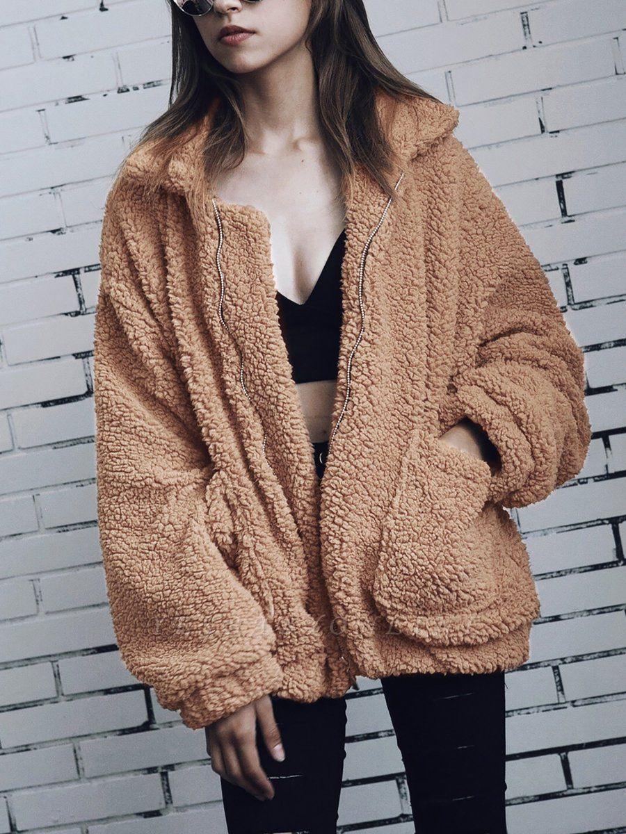 Long Sleeve Solid Casual Zipper Fur and Shearling Coat