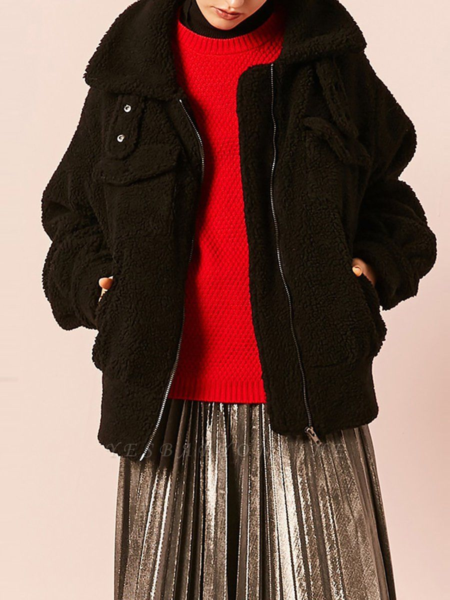 Black Buttoned Long Sleeve Solid Fur And Shearling Coats