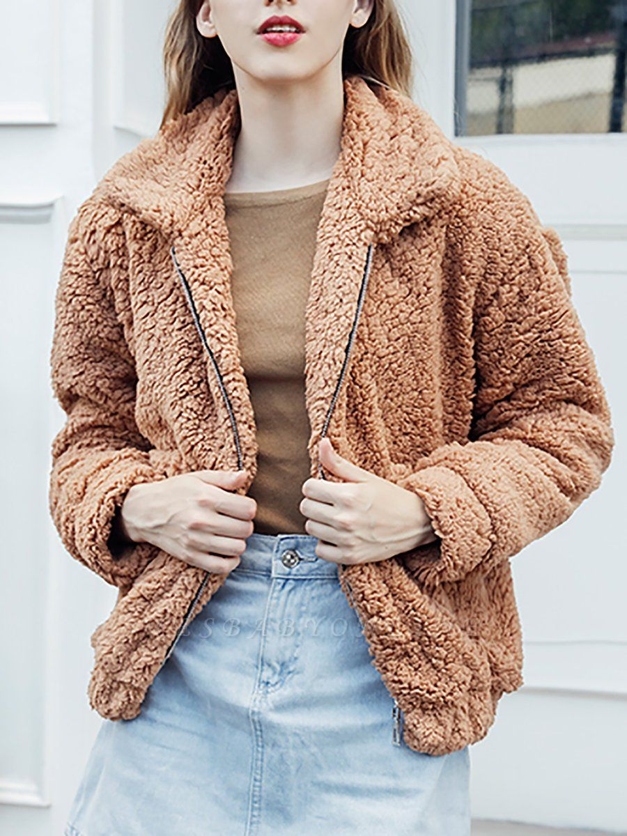 Casual Solid Shift Long Sleeve Fur and Shearling Coat