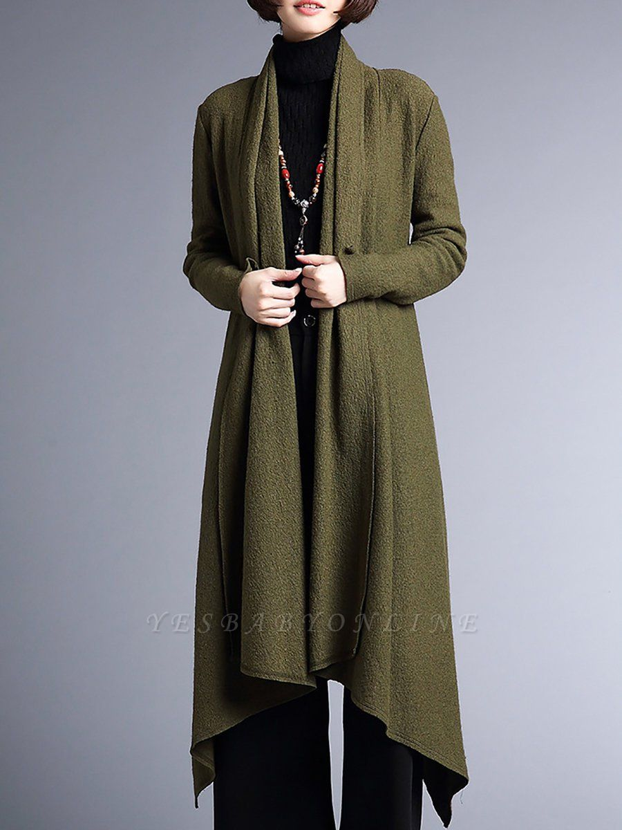 Shawl Collar Casual Long Sleeve Coat