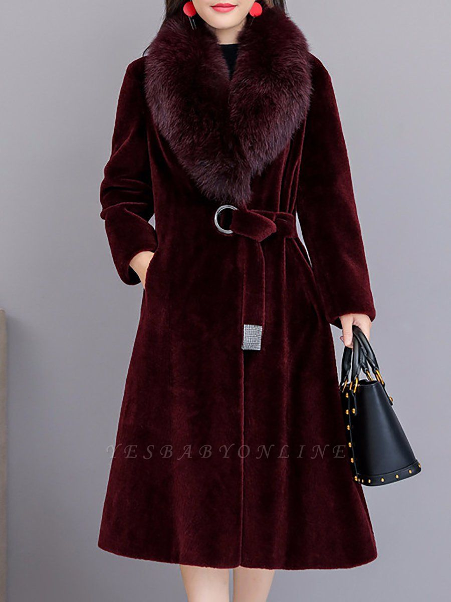 Buttoned Paneled Solid Shawl Collar Fur And Shearling Coats