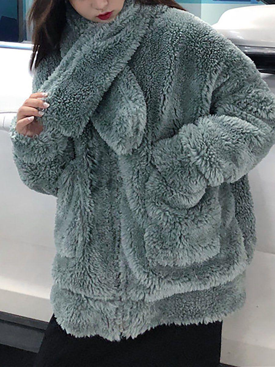 Long Sleeve Pockets Casual Fur And Shearling Coats
