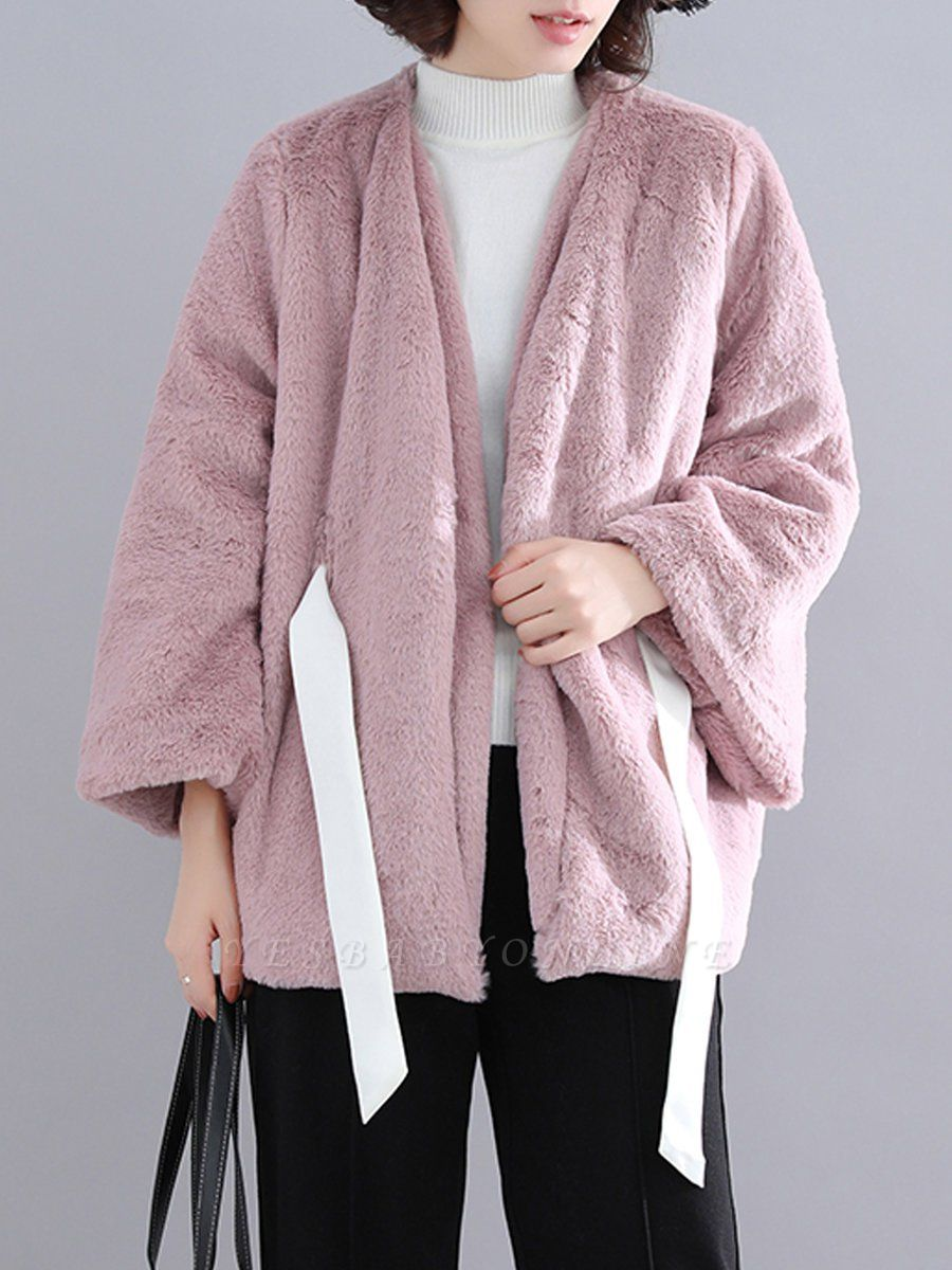 Casual Solid Crew Neck Fur And Shearling Coats