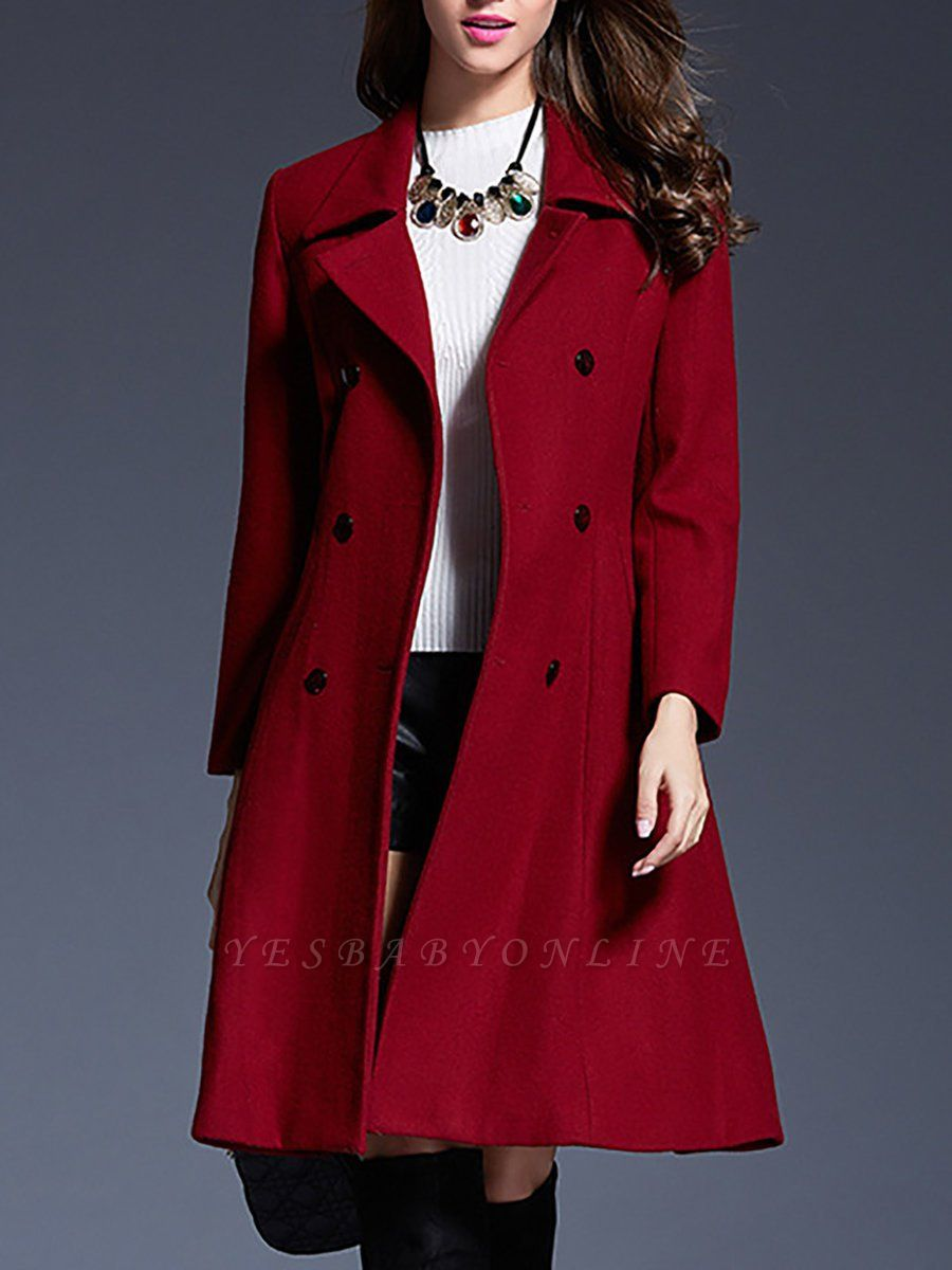 Long Sleeve Casual Lapel Buttoned Solid Coat