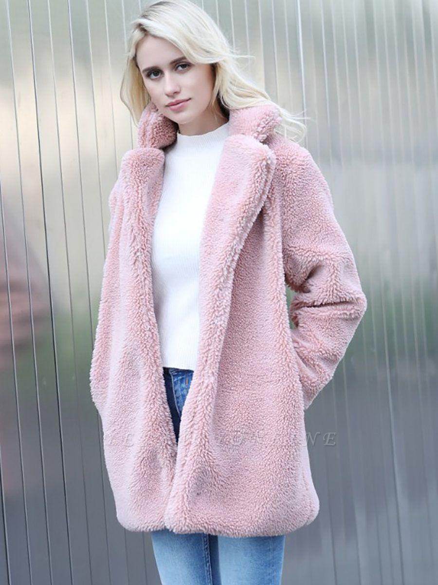 Long Sleeve Shirt Collar Solid Shift Fur And Shearling Coats