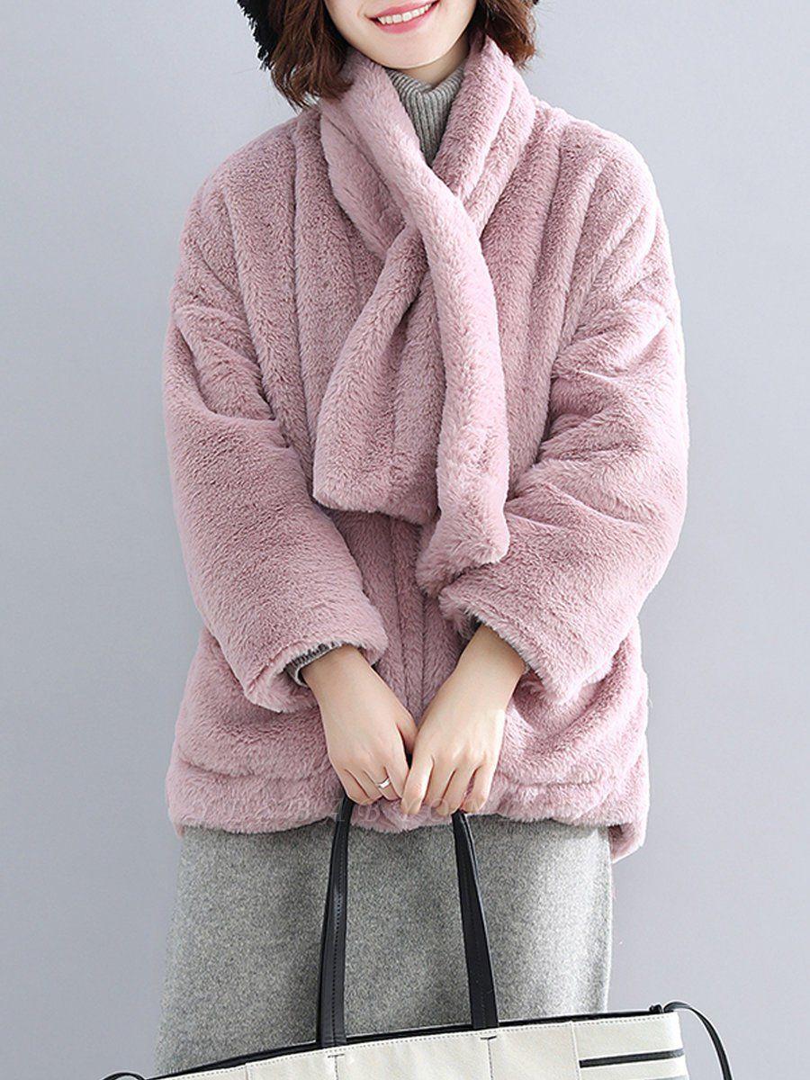 Solid Long Sleeve Pockets Fluffy Fur And Shearling Coats