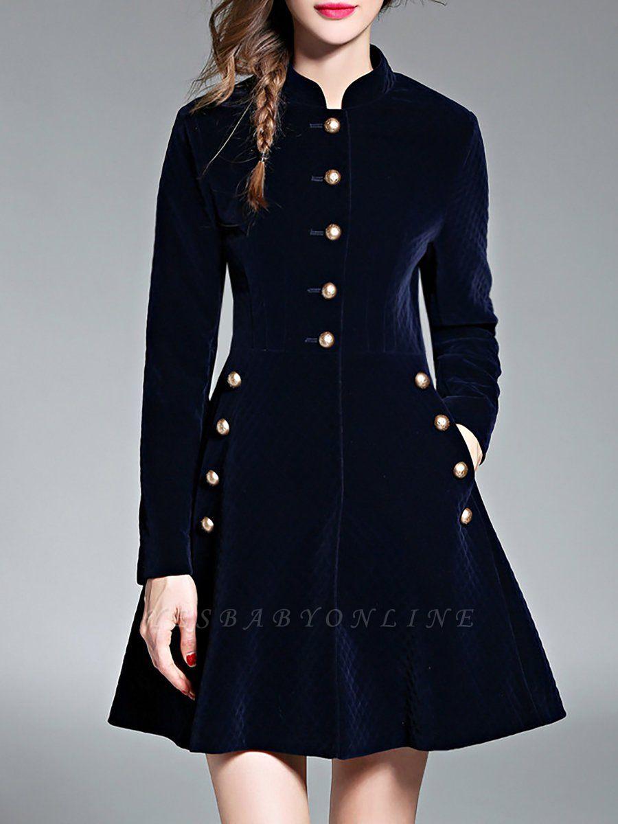 Navy Blue Elegant Stand Collar Velvet Coat