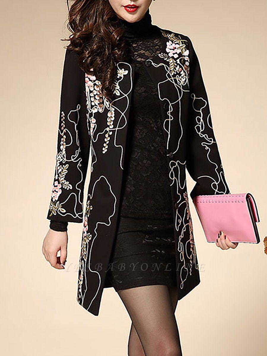 Black Wool Crew Neck Long Sleeve Floral Coat