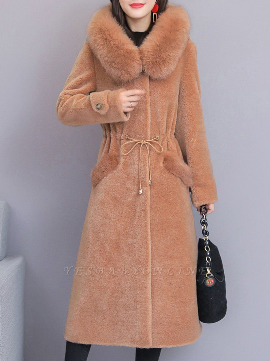 Hoodie Solid Long Sleeve Casual Fur And Shearling Coats