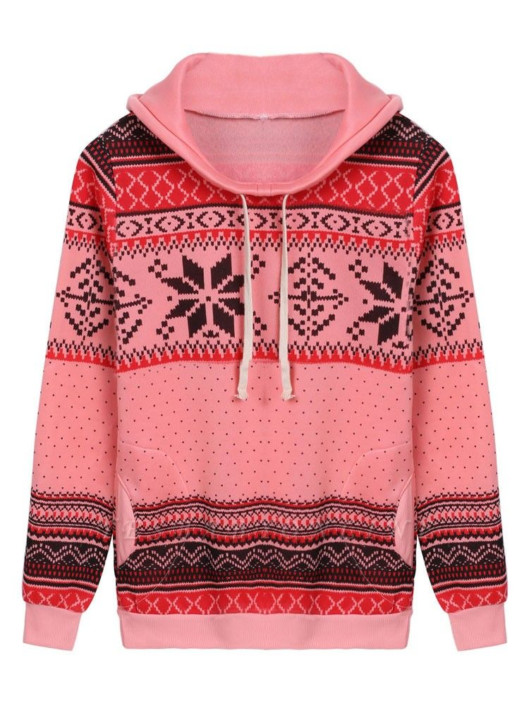 Ethnic Style Snowflakes Printed Thick Fleece Hoodies Casual Hooded Christmas Clothing for Women