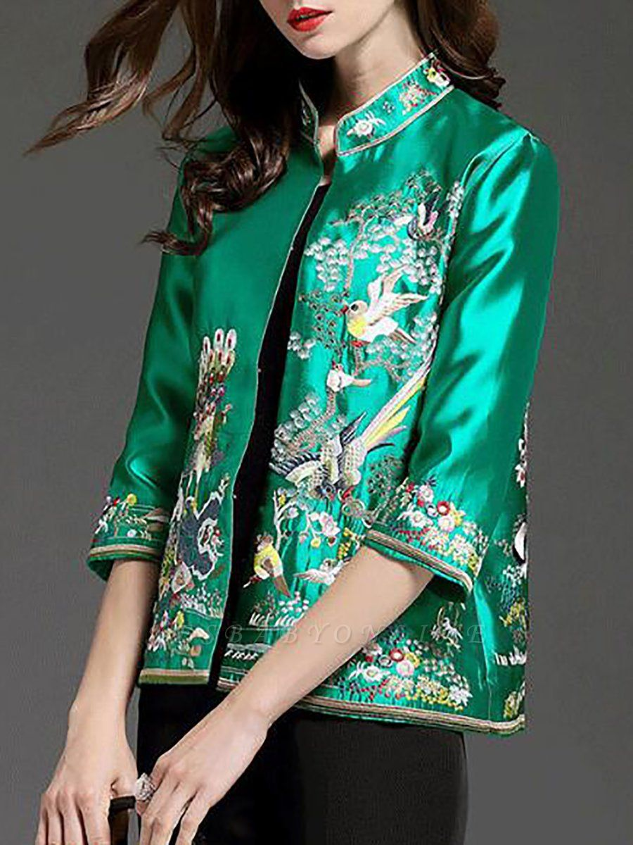 3/4 Sleeve Animal Casual Embroidered Coat