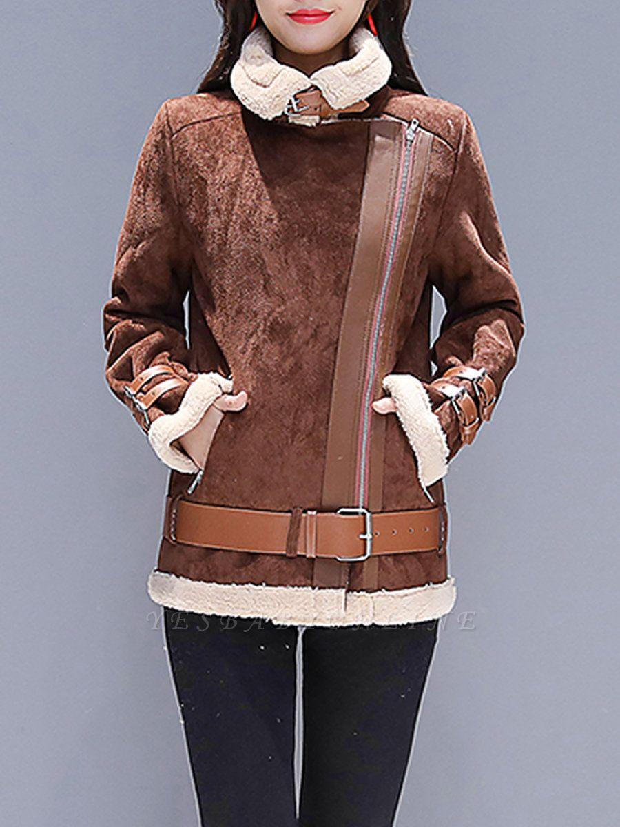 Coffee Paneled Pockets Zipper Fur and Shearling Coat