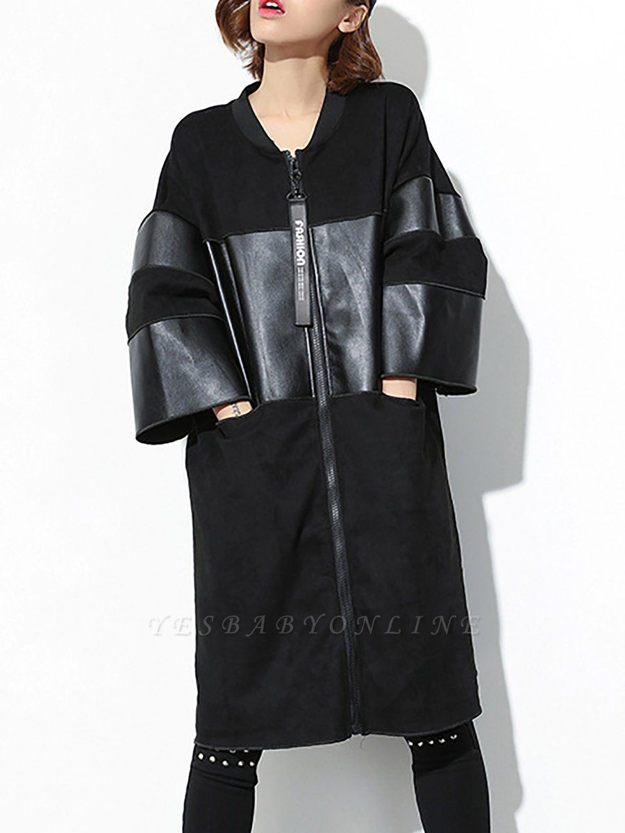 Black PU Paneled Zipper 3/4 Sleeve Coat