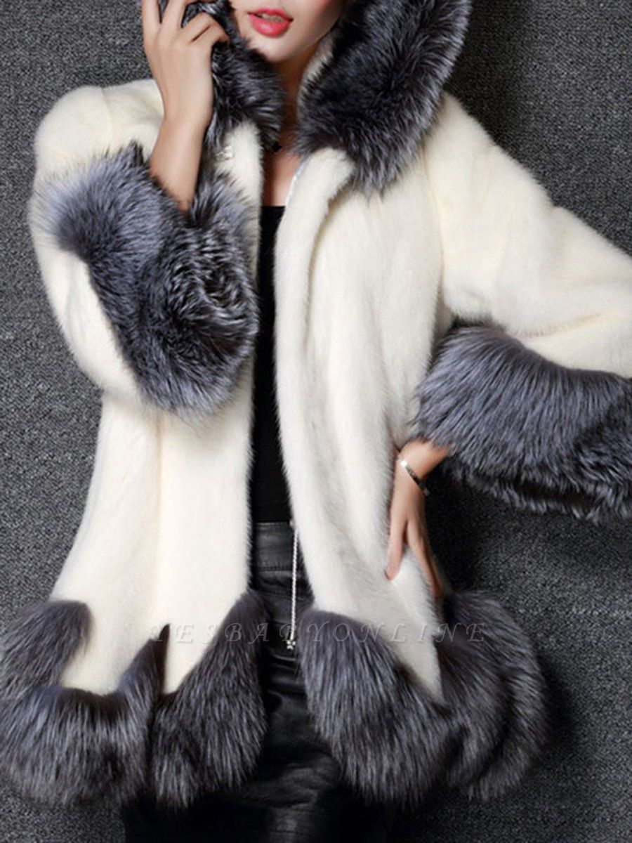 Long Sleeve Fluffy Casual Faux Fur Coat