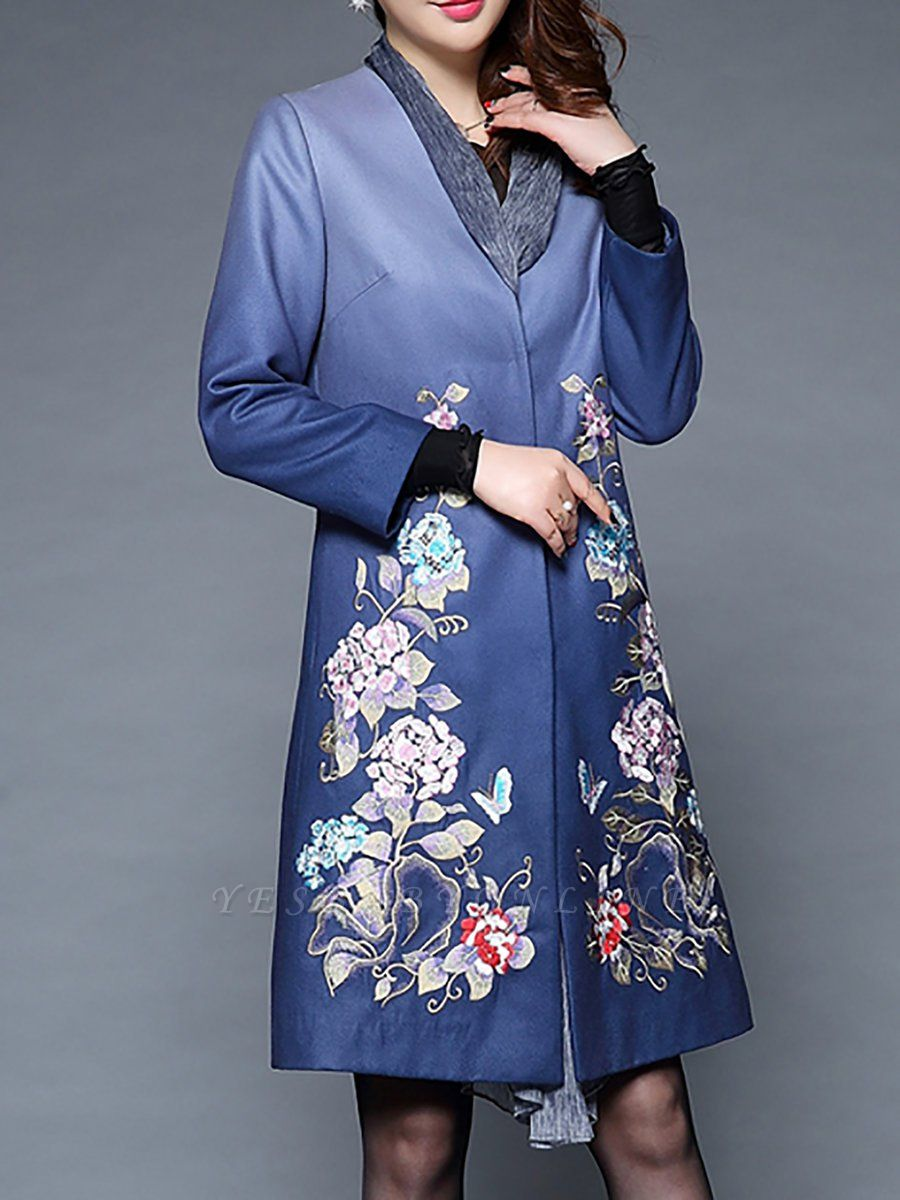 Blue Casual Paneled Shift Floral Coat