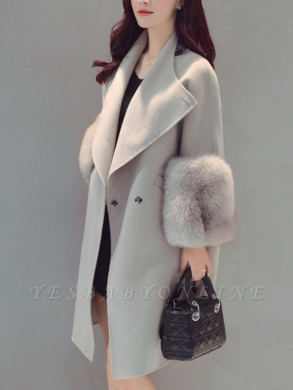 Elegant Wool Fur A-line And Shearling Coat