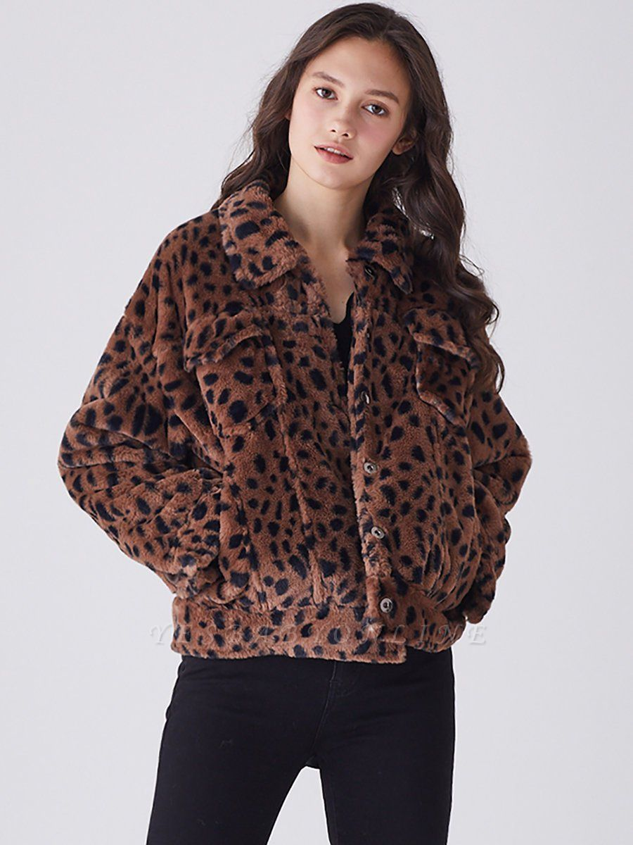 Brown Shift Leopard Print Casual Fur And Shearling Coats