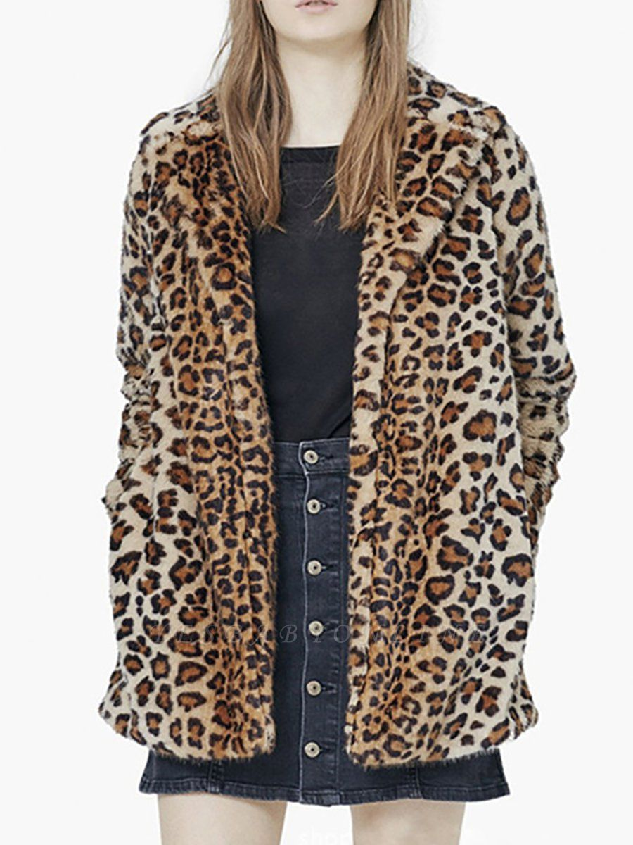 Brown Leopard Print Long Sleeve Fur And Shearling Coats