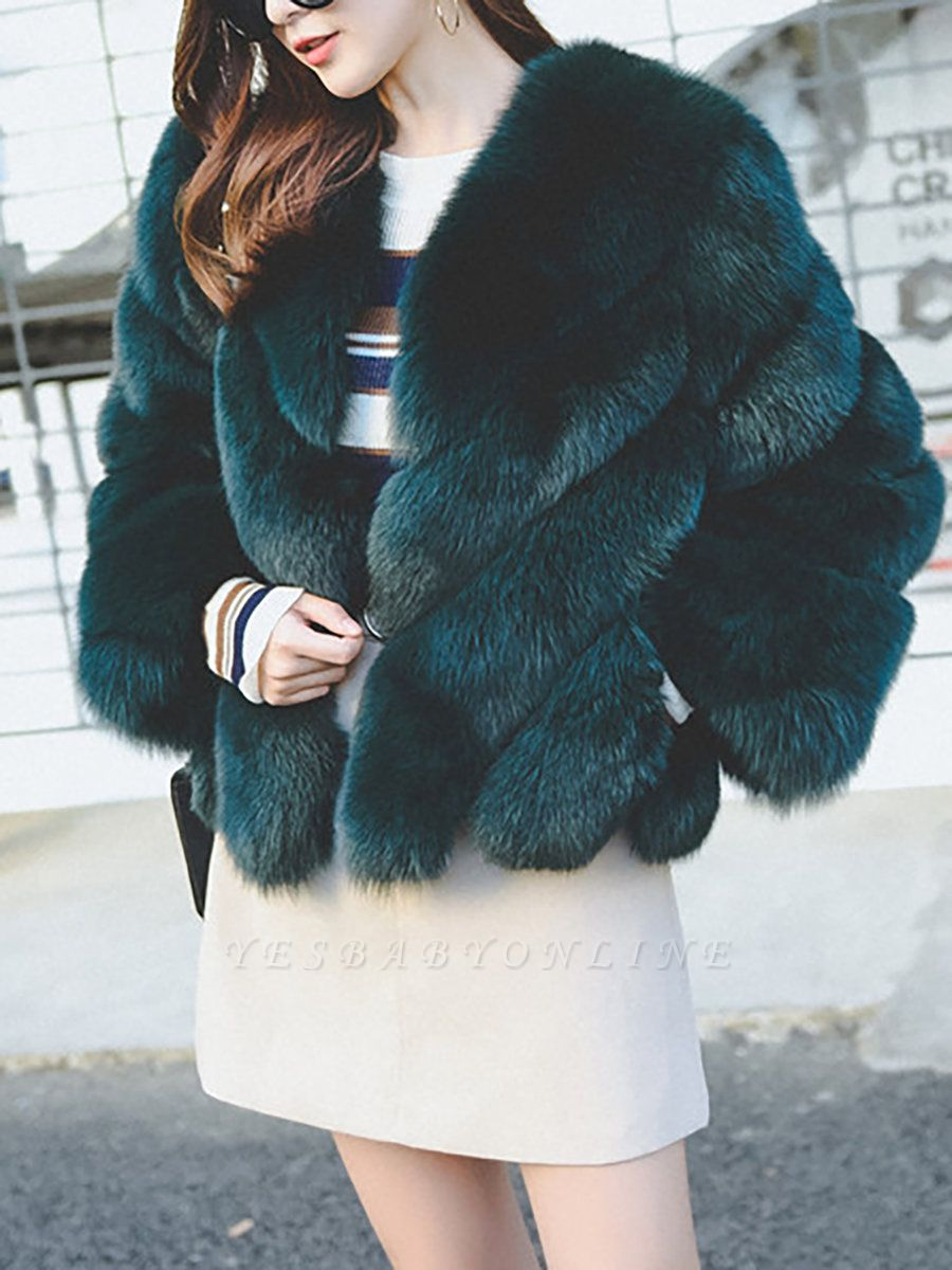 Casual Long Sleeve Shift Crew Neck Fur and Shearling Coat