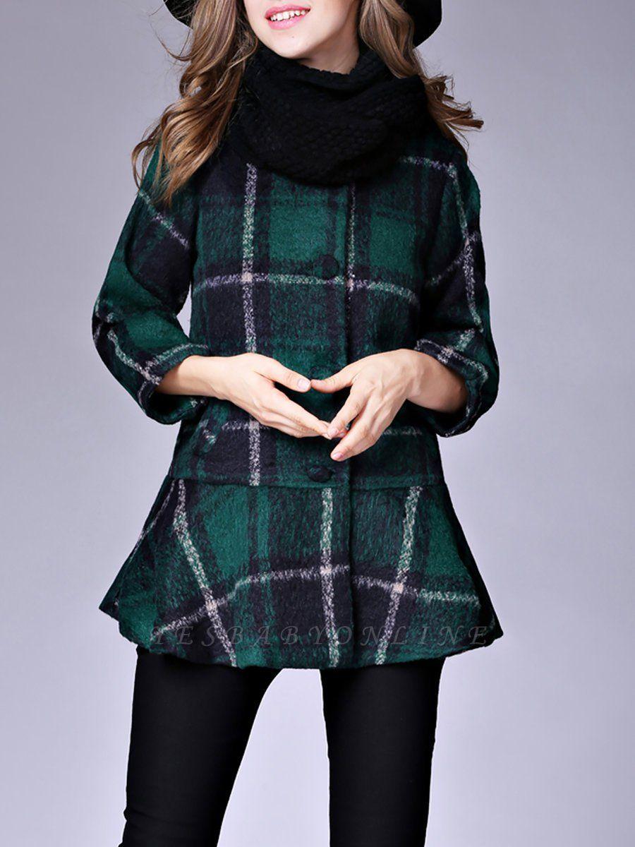 Checkered/Plaid Raglan Sleeve Casual Color-block Coat