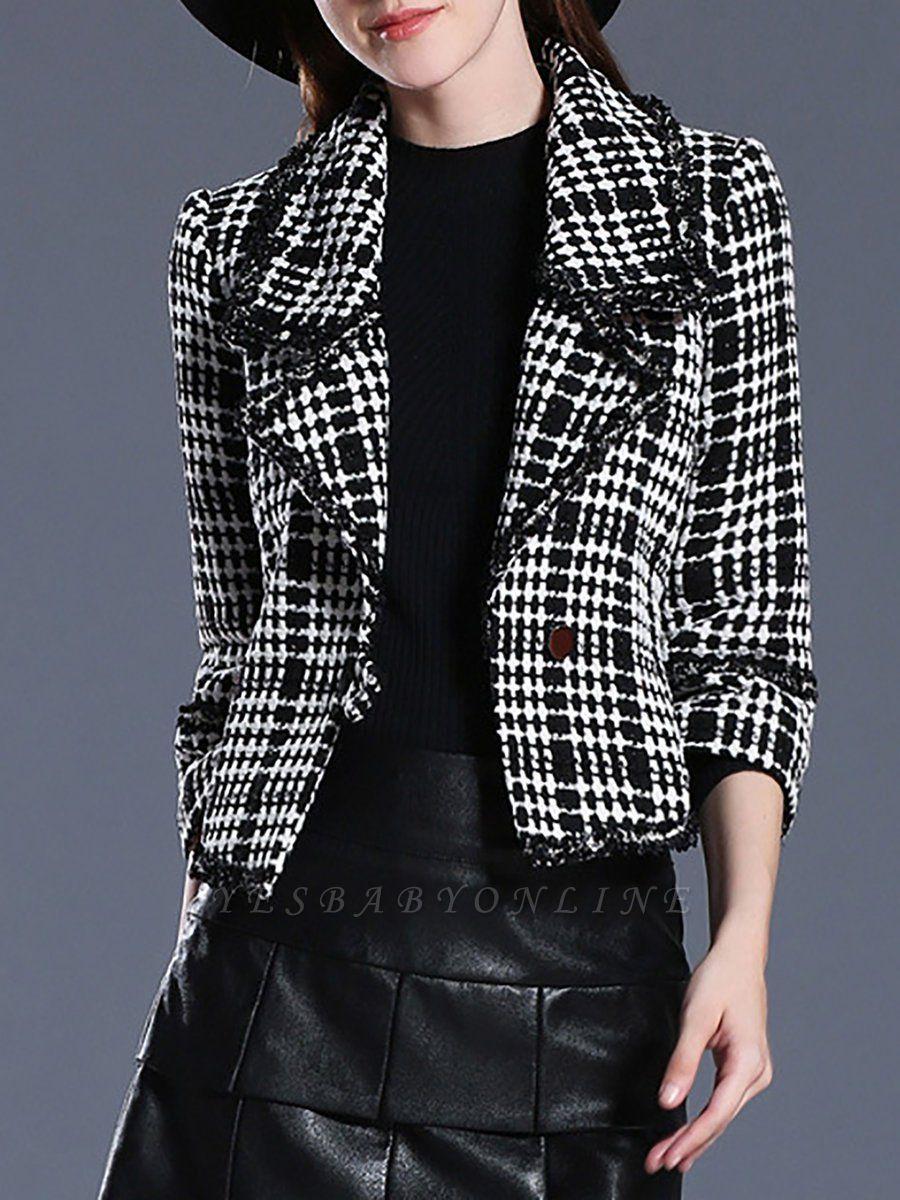 Black Casual Checkered/Plaid Coat