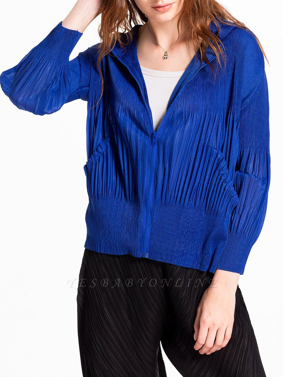 Casual Zipper Long Sleeve Hoodie Pleated Pockets Coat