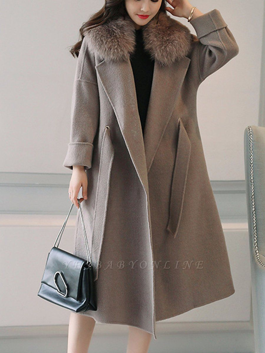 Gray Elegant A-Line Hoodie Fur And Shearling Coats