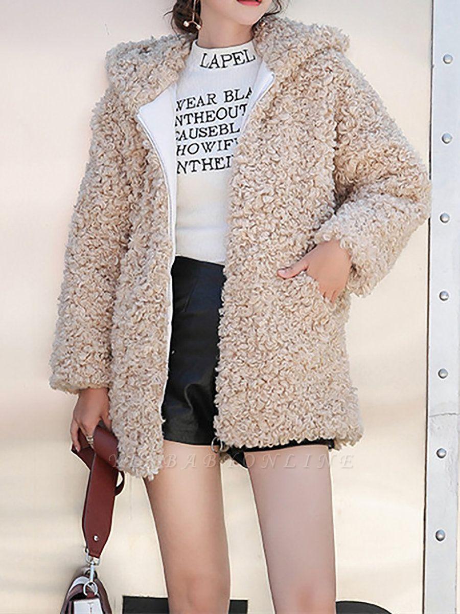Pockets Hoodie Zipper Fur And Shearling Coats