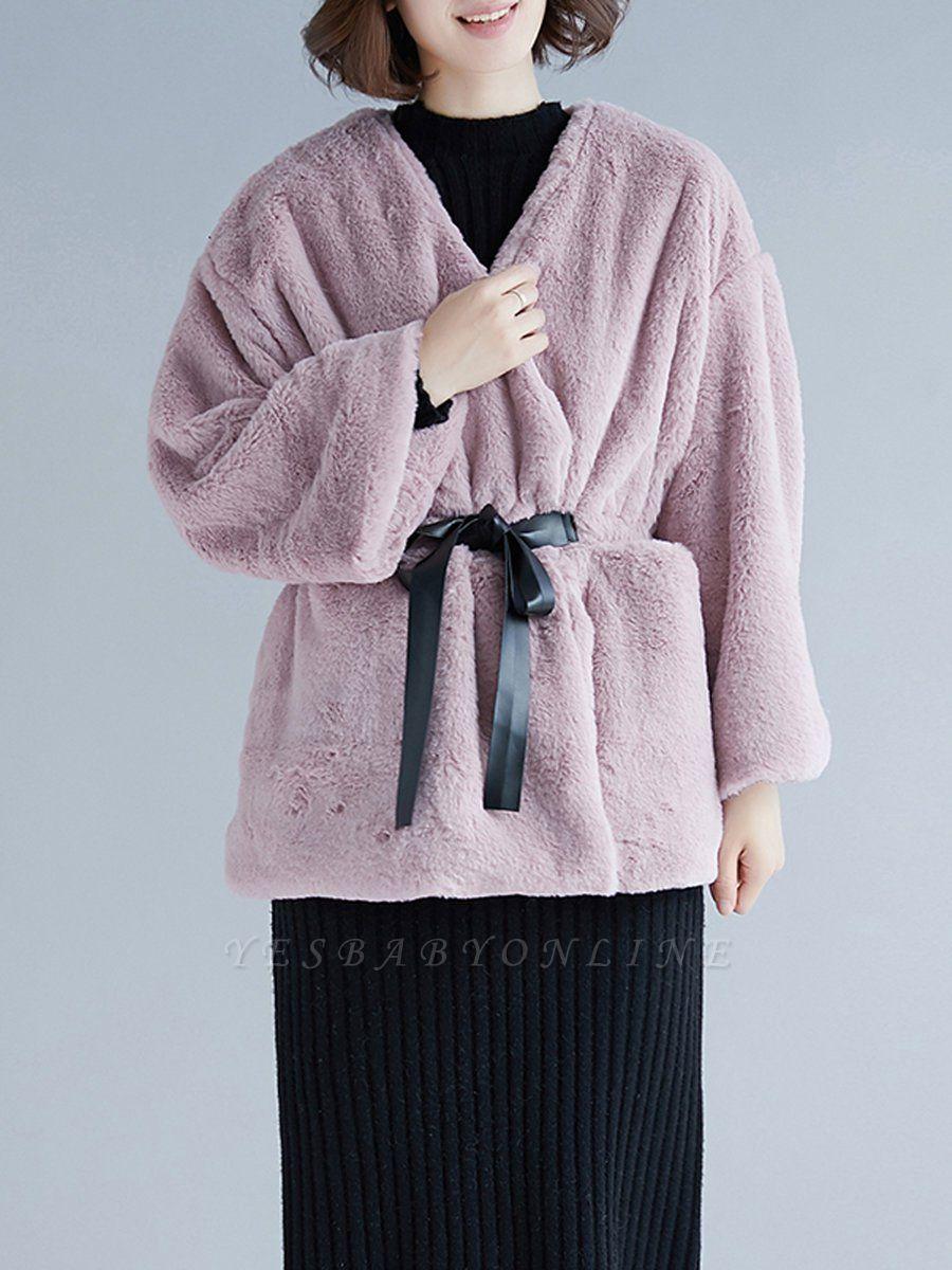 Long Sleeve Pockets Crew Neck Fur And Shearling Coats