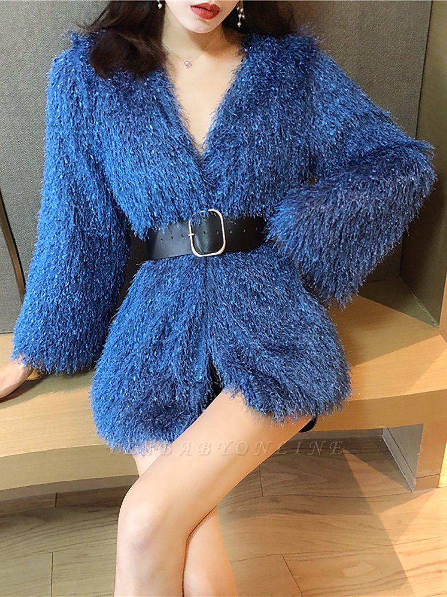 Solid Bell Sleeve Casual Fur And Shearling Coats