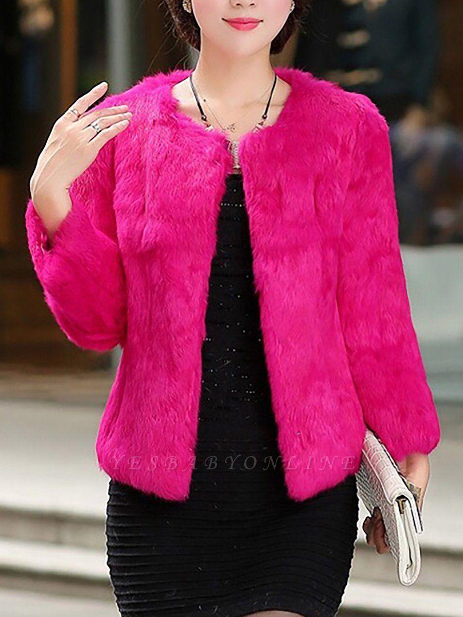 Casual Shift Long Sleeve Fur And Shearling Coats