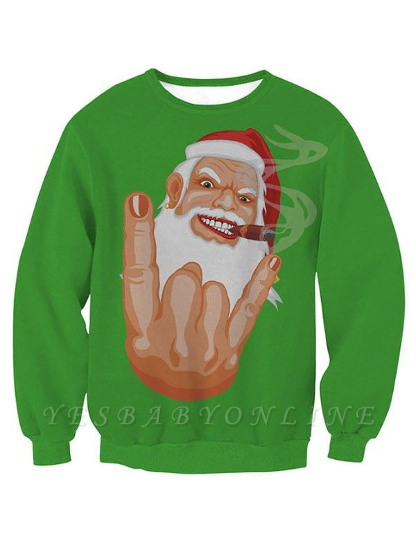 Women's Green Cartoon Santa Claus Printed Long Sleeves Casual Christmas Sweatshirt