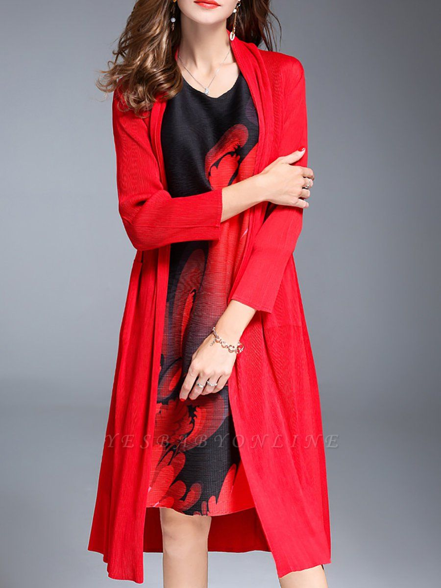 Red Shift Pockets Long Sleeve Coat