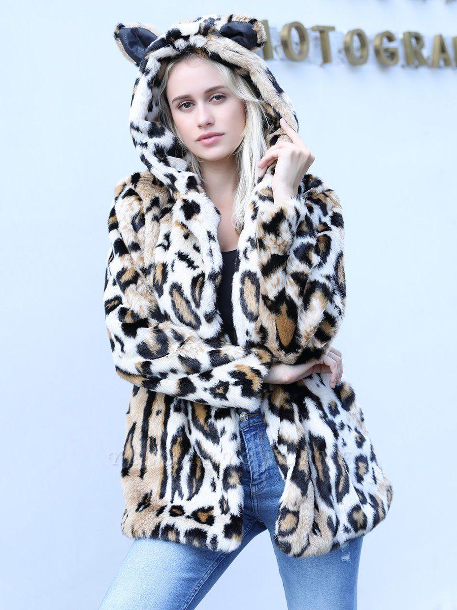 Brown Long Sleeve Hoodie Printed Fur And Shearling Coats - StyleWe.com