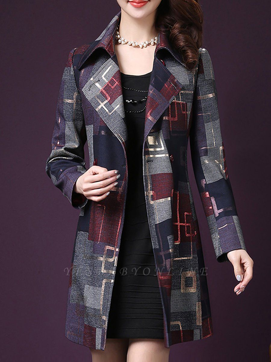 Purple Work Shirt Collar Checkered/Plaid Elegant Coat