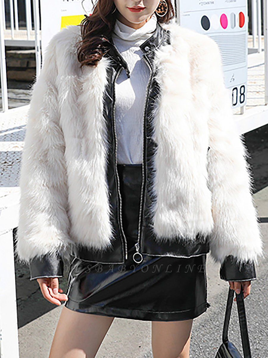 White Paneled Zipper Stand Collar Fur And Shearling Coats