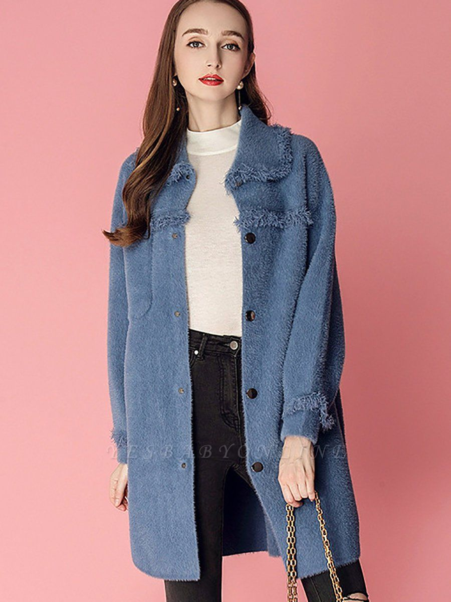 Sweet Raglan Sleeve Buttoned Fur And Shearling Coats