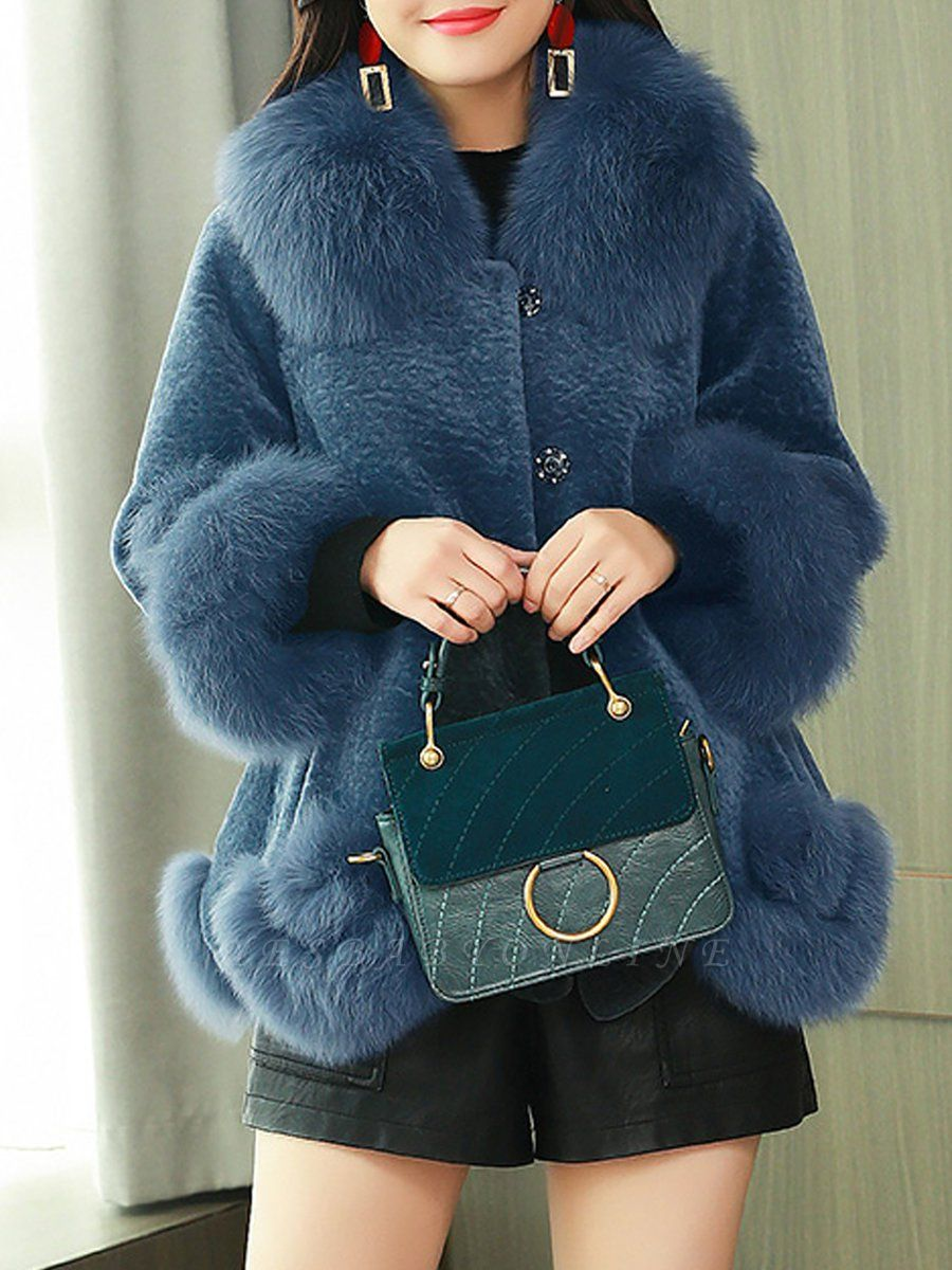 Buttoned Fluffy Shift Paneled Fur And Shearling Coats