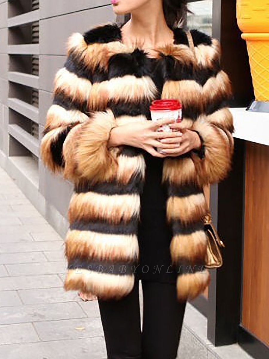 Black-Yellow Long Sleeve Faux Fur Shift Striped Casual Fur and Shearling Coat