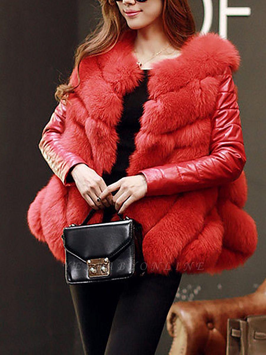 Long Sleeve A-Line Fluffy Elegant Fur And Shearling Coats