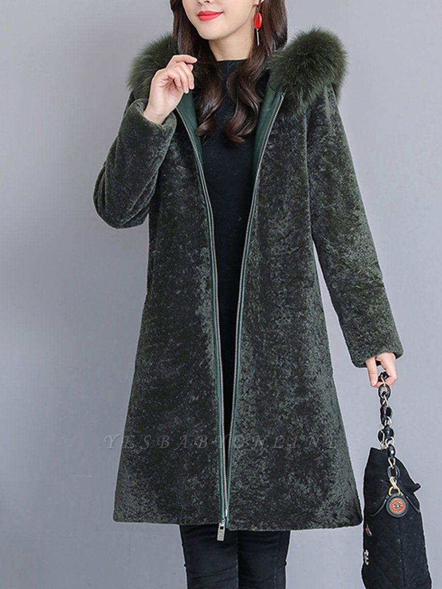 Shift Long Sleeve Zipper Solid Fur And Shearling Coats