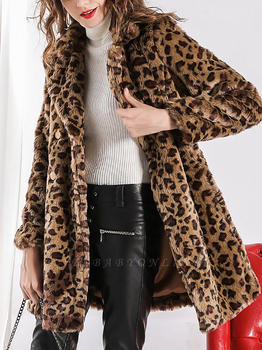 Camel Shawl Collar Shift Casual Long Sleeve Fur and Shearling Coat