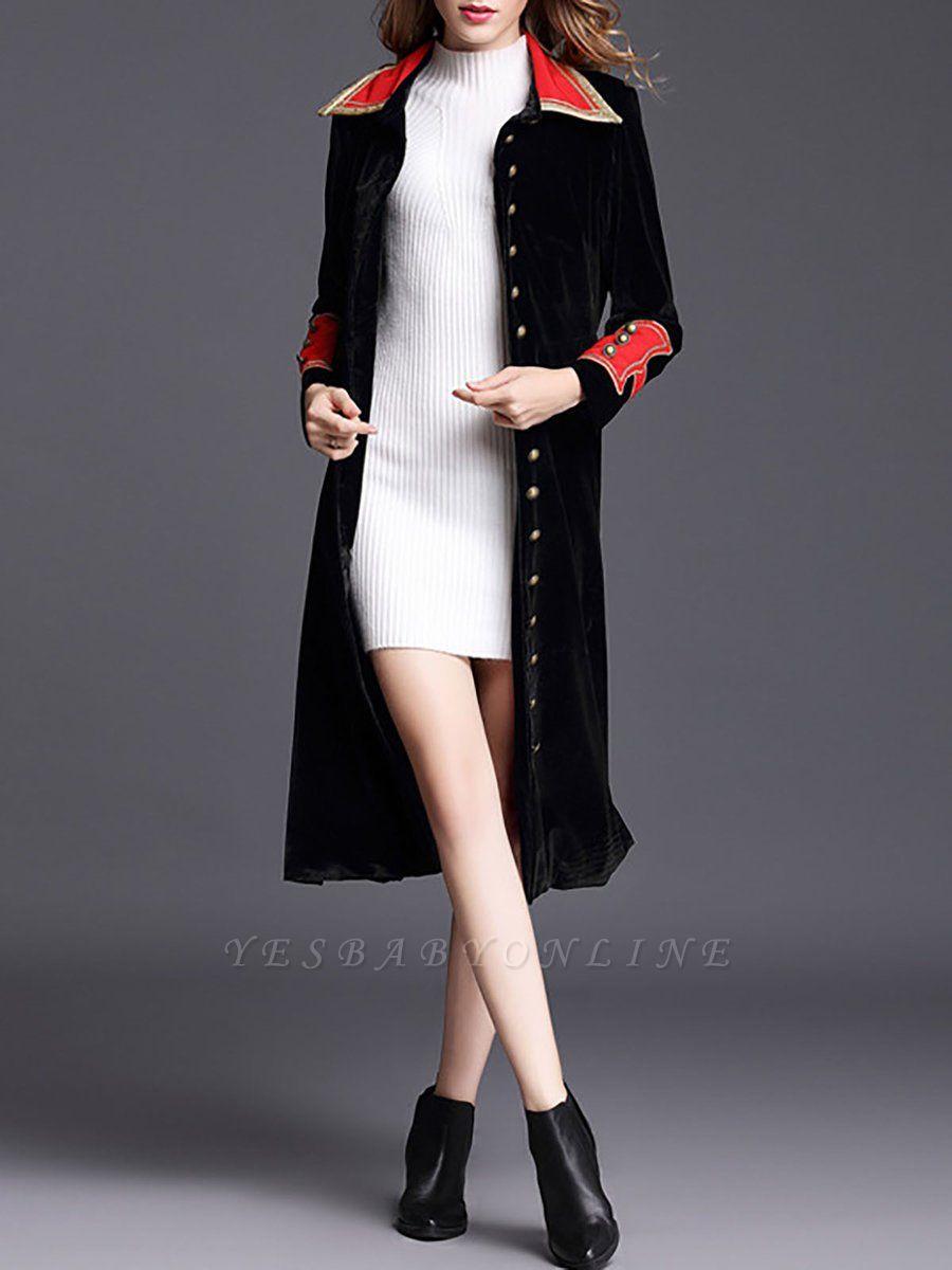 Black Solid Shift Elegant Velvet Coat