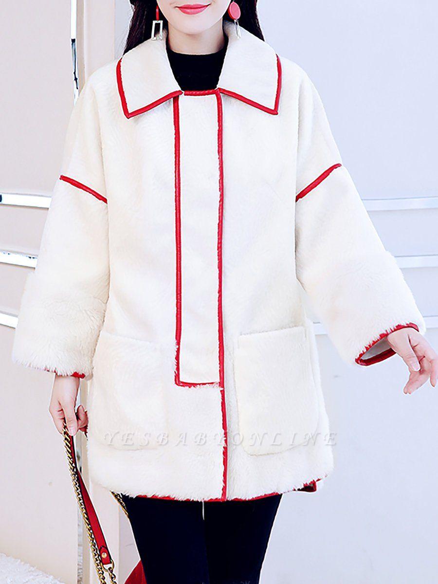 White Long Sleeve Shirt Collar Fur And Shearling Coats