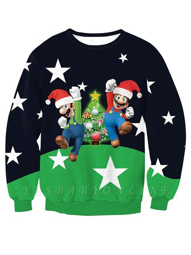 Navy and Green Star Santa Claus Christmas Tree Printed Long Sleeves Sweatshirts for Women