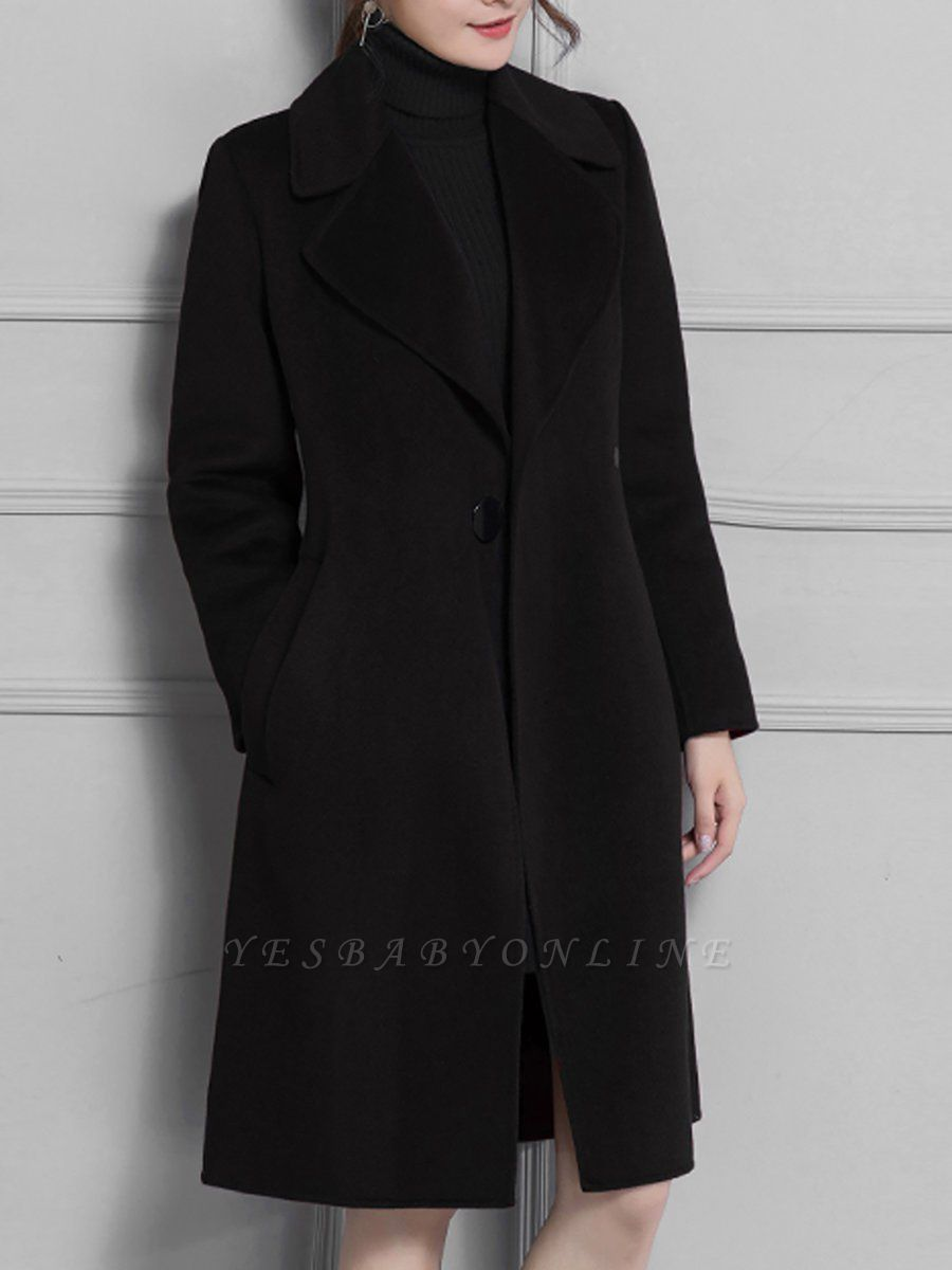 Lapel Solid A-line Buttoned Pockets Coat
