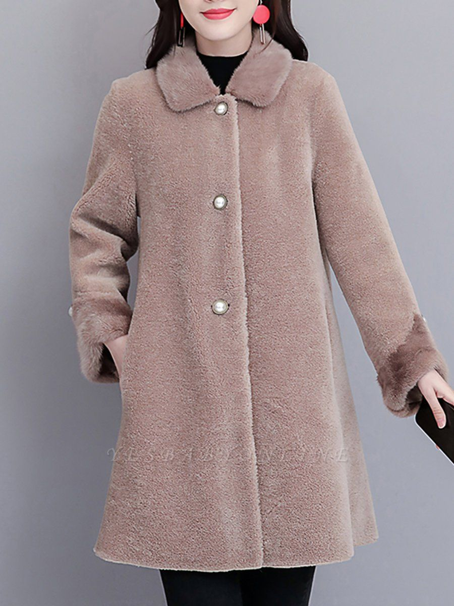 Buttoned Long Sleeve Solid Fur And Shearling Coats